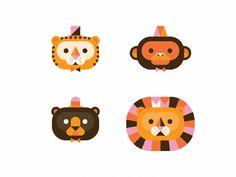 animal doodle  tiger, monkey, bear, lion