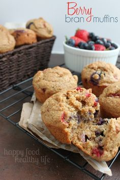 Berry Bran Muffins - a perfect on-the-go snack or breakfast for everyone in your family. www.happyfoodhealthylife.com