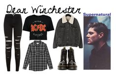 """""""Dean Winchester Inspired Outfit // Maile"""" by official-fandom-girls ❤ liked on Polyvore featuring Dr. Martens, New Look, Boohoo and Hush"""