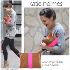 Katie Holmes wearing Neon strip flat clutch by Clare Vivier
