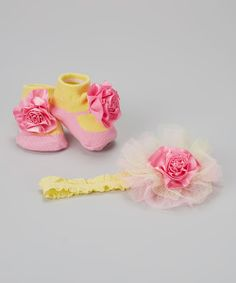 Take+a+look+at+the+Baby+Essentials+Yellow+&+Pink+Flower+Headband+&+Socks+on+#zulily+today!