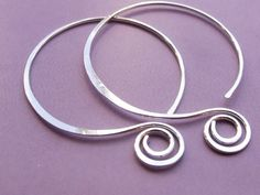 Sterling Silver Hoop Earrings (1.75 Inch)... Balloon and Spiral - Artisan Metalwork by AUNALIArtisanMetal on Etsy https://www.etsy.com/listing/110597192/sterling-silver-hoop-earrings-175-inch