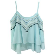 Aphratti Women's Sleeveless Chiffon Spaghetti Strap Embroidery Vest... ($11) ❤ liked on Polyvore featuring tops, blue tank, crop tank, crop top, embroidered vest and blue vest