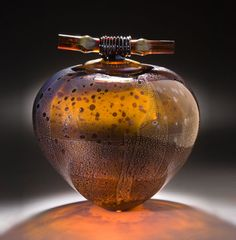 "*Art Glass - ""Dark Amber Wishpot""  by Geoff Lee"