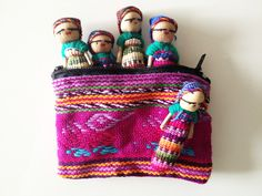 New Mini Worry Dolls for Boys in Handwoven Pouch