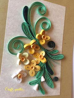 Beautiful handmade quilled card with quilling flowers Decoratively quilled for any birthday, anniversary,Mothers day,wedding,thank you, or congratulations. This unique card made using the ancient art of quilling and the quilled daisies offer a special 3D effect for the card.