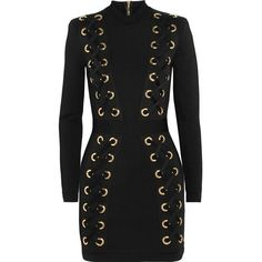 Balmain Lace-up stretch-jersey mini dress (304935 DZD) ❤ liked on Polyvore featuring dresses, laced up dress, zip bodycon dress, zip dress, short bodycon dresses and stretch jersey