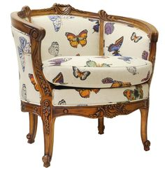 The deep curves of our Louis style  Papillion Chair are quintessential old Paris, whilst the butterfly print upholstery provide a more modern embrace. Marry with cherry wood framed furniture and antique gold accents.