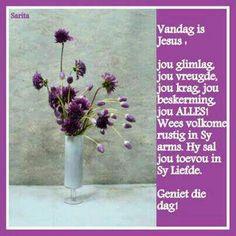 Jesus is my als.dag na dag! Goeie More, Afrikaans, Glass Vase, Plants, Home Decor, Creative, Decoration Home, Room Decor, Plant