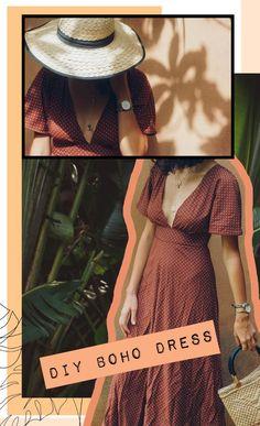 diy Fashion boho - DIY Robe Boho sans patron - Spring in Fialta Diy Clothing, Sewing Clothes, Clothing Patterns, Dress Patterns, Pattern Dress, Pattern Sewing, Sewing Paterns, Sewing Coat, Rock Clothing