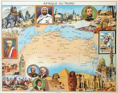 Pinchon - Map of North Africa Africa Map, North Africa, Pictorial Maps, Map Design, Globes, World War Ii, Middle East, Egypt, How To Draw Hands