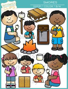 The S'mores clip art set includes the pieces needed to make a s'mores, as well as a fire and kids holding marshmallows on sticks so that you can create your own S'mores roasting scene. This set contains 28 image files, which includes 14 color images and 14 black & white images in png. All images are 300dpi for better scaling and printing.