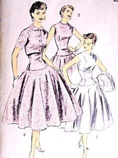 1950s Beautiful Cocktail Evening Dress and Jacket Pattern Advance 7923 Fitted Empire Long Torso Full Skirt Party Dress  Low V Back Short Jacket  Bust 31 Vintage Sewing Pattern