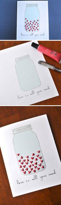 Mason Jar Heart Card | DIY Valentines Cards for Him | DIY Valentines Cards for Boyfriends