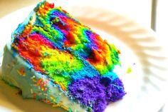 Marbled rainbow cake-good idea!