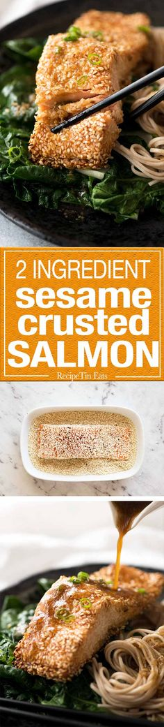 Just roll salmon in sesame seeds, drizzle with oil then bake. It sticks brilliantly and comes out crispy!
