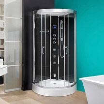 AquaLusso - Opus 95 - 950mm x 950mm Steam Shower Cabin - Carbon Black
