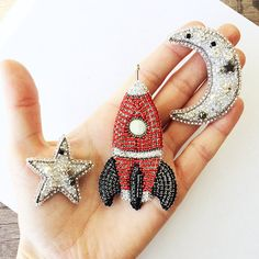 Crystal jewelry set of brooches  Moon silver brooch  Star jewelry space rocket brooch half moon jewelry silver jewelry gift brooch