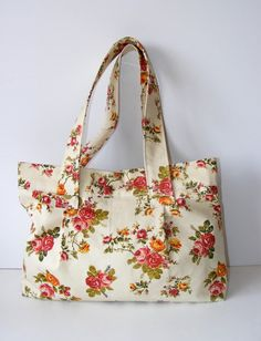 Hobo Tote Bag orangepink and green Floral shoulder by seno on Etsy, $40.00  so pretty!   Http://www.deltamoonsoap.com