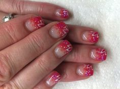 Gel nails with hand drawn design using gel