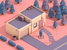 Candy house by Alex Celaire Popular Isometric Art, Isometric Design, 3d Cinema, 3d Mode, Low Poly Games, Candy House, Low Poly Models, Low Poly 3d, 3d Artwork