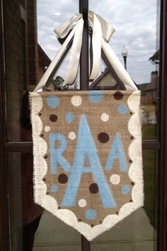 Burlap Door Hanger by SealedWithACraft on Etsy, $20.00