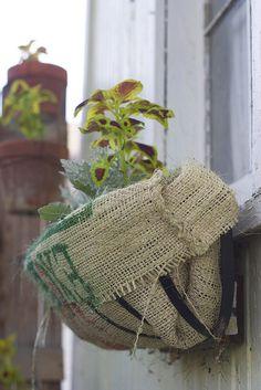 Burlap Sack Planter by cottage revolution, via Flickr