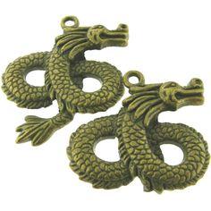4 pcs Antique Brass Bronze Alloy Dragon by FancyGemsandFindings, $5.00