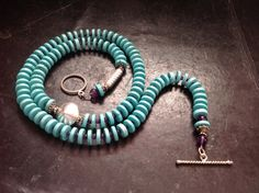 Turquoise amethyst and sterling silver by BlkBttrflyDsgns on Etsy