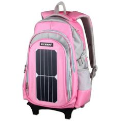 ECEEN Solar powered bags Cute Lovely Boys Girls School Backpack Schoolbags with Wheeled Trolley Hand Material: Oxford cloth Polyester lining, pink and blue color available Special: Removable Hand Trolley Used for: Perfect for pupils and primary school students Design: 7 different pockets in total,including 1x main bags,1x inner bags,2x outside bags,2x side net bags Max load-bearing 45KG, make the spine more health to grow and protect it from heavy weight With 5Watts Sunpower solar cell…
