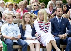 (L-R) Prince Sverre Magnus of Norway, Princess Ingrid Alexandra of Norway, Crown Princess Mette Marit of Norway and Crown Prince Haakon of Norway attend the unveiling of Norwegian Trekking Association gift for The Queen of Norway 80th birthday on July 04, 2017 in Oslo, Norway