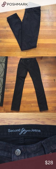 Second Yoga Jeans In Good Condition, has some wear/ Has a slight metallic finish! Jeans Straight Leg