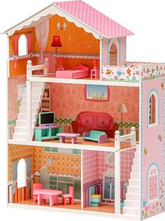 ibstyle dolls house coco pink 3 floors 4 rooms terrace dream house house with wooden furniture c no description barcode ean u003d
