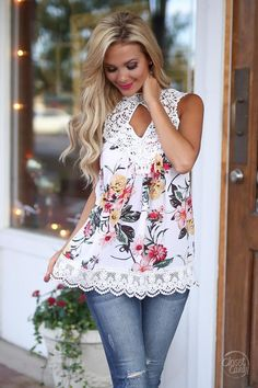 Say It With Flowers Top - White