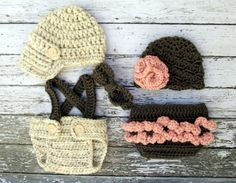 Vintage Twin Photography Prop Set in Wheat by mamamegsyarnshoppe, $68.00