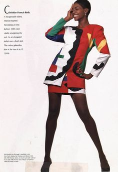Christian Francis Roth. Matisse inspired collage suit - Spring 1991 Saks Fifth Avenue Book.