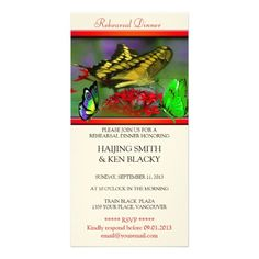 Butterfly Rehearsal Dinner Cards Butterfly Wedding Rehearsal Dinner Invitation 3