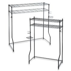 Dorm Space Saver Shelves go over the bed and have spots for phone, drink and hook for jacket/backpack - really hope that these come back in stock soon at Bed, Bath & Beyond!