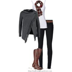 Gray cardigan wrap, Plaid scarf & Frye boots