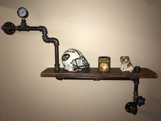 Steampunk inspired Shelf made from Reclaimed Wood and