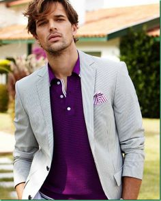 Michael Gstoettner for Pierre Cardin Spring 12 - purple and light grey feel so fresh and summery! #menswear #style #fashion #summer