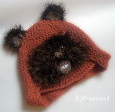 OK....this might be the best hat I have ever seen for a little kid.  I wonder how agreeable Olivia would be to being an Ewok for Halloween...    Fun character hat Newborn to Adult Made to Order by kjcreations2, $27.00