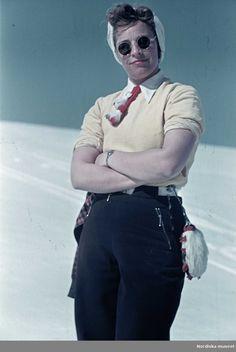 Skidåkning, 1941. Fotograf: Gunnar Lundh
