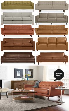 Room & Board sofa, green sofa, leather sofa, brown leather sofa, pumpkin leather sofa
