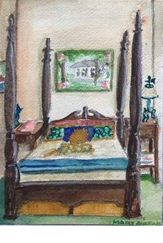 """Daily Paintworks - """"Four-Poster Bed"""" - Original Fine Art for Sale - © Mary C."""