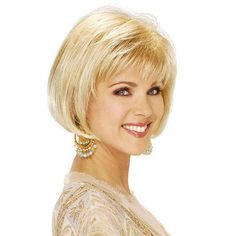 The Ellen Wig by Estetica Designs is a short chin length bob with soft bangs and shaped back. An effortless look with natural movement. Finger style and go with a quick shake Bob Hairstyles With Bangs, Bob With Bangs, Older Women Hairstyles, Wig Hairstyles, Straight Hairstyles, Bangs Hairstyle, Full Bangs, Bob Haircuts, Layered Haircuts