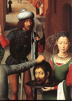 Dal Trittico di San Giovanni di Hans Memling ( 1474-1479 ), Salomè riceve la testa del Battista.