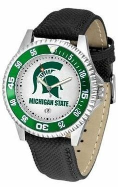 Michigan State Spartans MSU NCAA Mens Leather Wrist Watch by SunTime. $68.95. Men. Adjustable Band. Poly/Leather Band. Date Calendar And Rotating Bezel. Officially Licensed Michigan State Spartans Men's Leather Sports Watch. The Competitor Watch With Poly / Leather Band is the hottest design in watches today! A functional rotating bezel is color-coordinated to compliment your favorite team logo. A durable long-lasting combination nylon/leather strap together with a da...