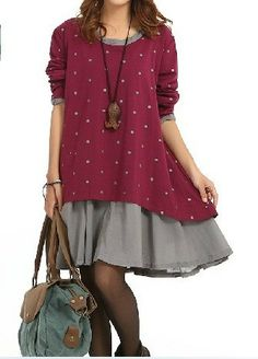 4 couleur coton robe le lin chemise loose chemisier manches longues finition pull hiver automne for Couleur lin clothing
