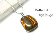 **Kette Geburtsstein Tigerauge** für den Monat November, Sternzeichen Skorpion. Die Kette ist 48 cm lang, der Geburtsstein Tigerauge etwa 2,5 cm groß. Diese Halskette ist sofort lieferbar, andere...